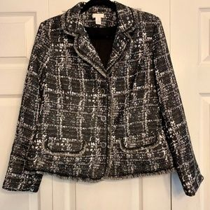 CHICO'S Shattered Tweed Treana Jacket Black White